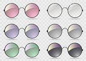 Set of round glasses with different lenses. Retro style. Hippie. Vector graphics with transparency