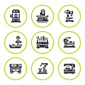 Set round icons of machine tool isolated on white. Vector illustration