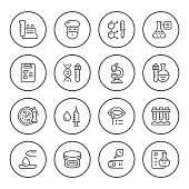 Set round line icons of medical analysis isolated on white. Vector illustration