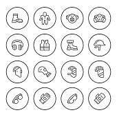 Set round line icons of protecting equipment isolated on white. Vector illustration