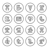 Set round line icons of robotic industry isolated on white. Vector illustration