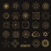 Set Sacred geometry forms, shapes of lines, logo, sign, symbol.