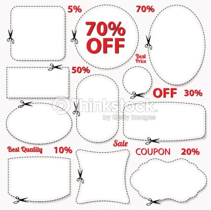 set sale coupons labels template blank frame scissors vector art