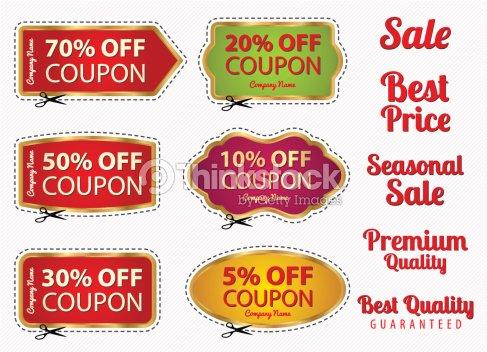 set sale coupons labels template gold frame scissors vector art