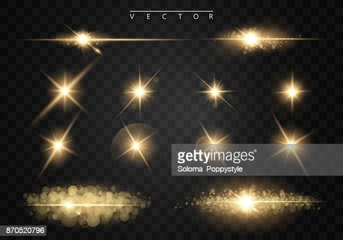 Set. Shining star, the sun particles and sparks with a highlight effect, golden bokeh lights glitter and sequins. On a dark background transparent. Vector, EPS10 : stock vector