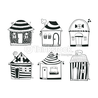 Set sketch black and white outline houses in cartoon style for Minimal house artists