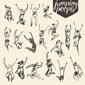 Collection of sketches of a silhouette of a jumping persons, vector illustration
