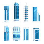 Set skyscrapers buildings. Tower city business architecture apartment and office building for urban landscape. Vector illustration in trendy flat style isolated on white background