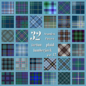 Set tartan seamless pattern in blue, green and purple colors. Lumberjack flannel shirt inspired. Seamless tartan tiles. Trendy hipster style backgrounds. Suitable for decorative paper, fashion design,