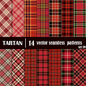 Set tartan seamless pattern in red colors. Lumberjack flannel shirt inspired. Seamless tartan tiles. Trendy hipster style backgrounds. Suitable for decorative paper, fashion design, home and handmade
