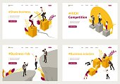 Set Template design, Isometric concept share business, high competition, Business solution, Business risk.
