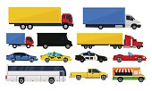 Big set trucks and cars isolated white background. Vector illustration, flat design.