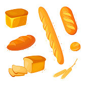 Set vector bread icons. Vector illustration isolated on a white background. Bakery product in cartoon style. Baguette, loaf, white bread