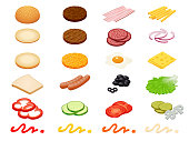 Set vector constructor isometric Burger ingredients and burger buns isolated on white background. Ham, cheese, egg, onion, tomato, cucumber, mushrooms, radishes, salad, cutlet potato and pepper