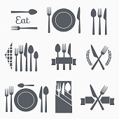 Set cutlery icon vector illustration. Black silhouette of fork, knife, spoon and plate. Table appointments. Menu