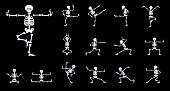 Set vector design elements: funny skeletons - dancing, yoga kung fu isolated on black background