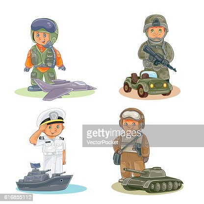Set vector icons of small children different professions : Vector Art