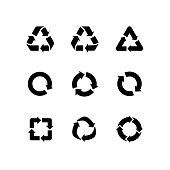Set of vector signs of recycling, arrow icons isolated on white. Recycle icons, reuse logo, reduce symbol. Ecological symbols of recycle, environment icons collection. Recycle sign