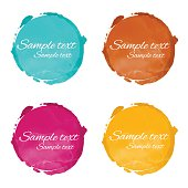 Set watercolor rainbow circle paint stains isolated on white background, blue, brown, red, yellow colors - vector artwork