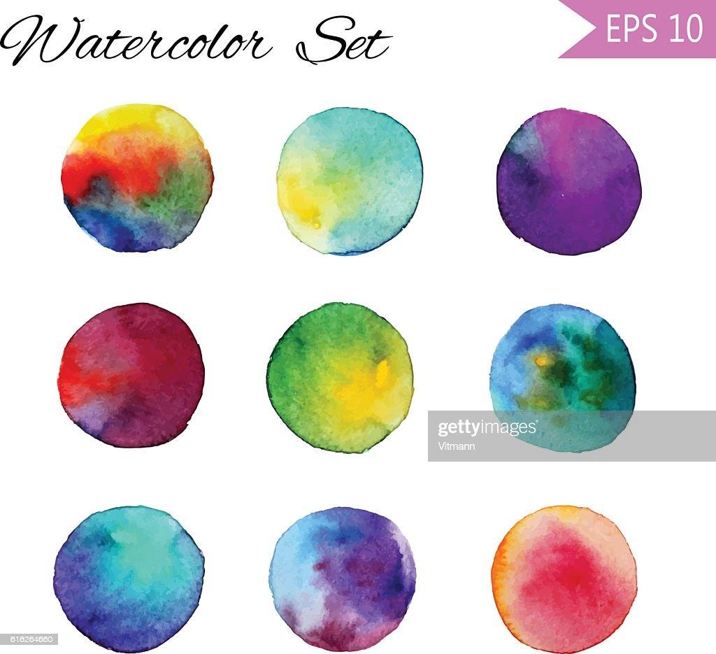 Set Watercolor-style vector spot illustration. Colorful element for design : Vector Art