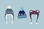 Winter hat icon. Knitted winter cap. Set winter hat isolated. Winter hat and cap. Isolated winter hat. Flat icon winter hat cap. Winter hat. Winter cap. Wool hat. Vector illustration