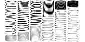 Set with springs 3D. Silhouettes of springs. Animation sequence of compression and expansion of springs. Vector illustration.