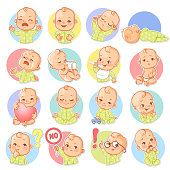 Cute little baby boy or girl as smiley with different emotions. Face expressions. Sad, happy, scared, sleep,cry.  Template for social media, messenger. Vector illustration.