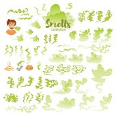 Set with bad smells. Isolated art on white background. Vector. Flat. Green