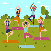 Set with beautiful women in vrkasana asana pose of yoga. Vector set of exercises illustration. Five women in outdoor yoga class. Helthy lifestyle. Sun greeting. Sky, trees and grass background. Flat
