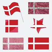 Flags of Denmark Made in Different Variations: in Flat Design, with  Fabric Texture and as Web Buttons