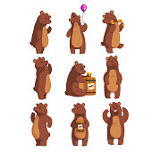 Cartoon set with funny brown bear. Forest animal character waving by paw, holding balloon, dancing, howling, calling someone, eating honey from wooden barrel, smiling. Isolated flat vector design.