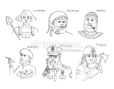 Set With Hand Drawn People Of Different Professions stock