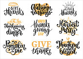 Set with lettering and illustrations for Thanksgiving Day. Give Thanks, Pumpkin Pie, Harvest Party, Autumn Blessings, Thankful and Blessed, vector drawn and handwritten labels, cards.