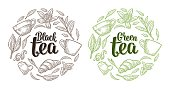 Set with lettering Black Green Tea. Cup, branch, leaf, flower, lemon, croissant, bag. Vector vintage engraving illustration for label, poster, web. Isolated on white background.