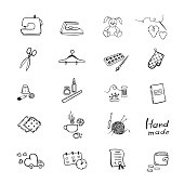 Vector set with black outline icon of sewing equipment and needlework