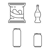 Set with soda, beer and crisps in line style