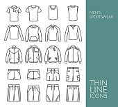 Set with thin line icons on Men's Sportswear theme. Sport style men's cloth. Vector illustration. EPS 10