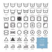 Set with thin line washing icons and laundry symbols. Vector illustration. EPS 10