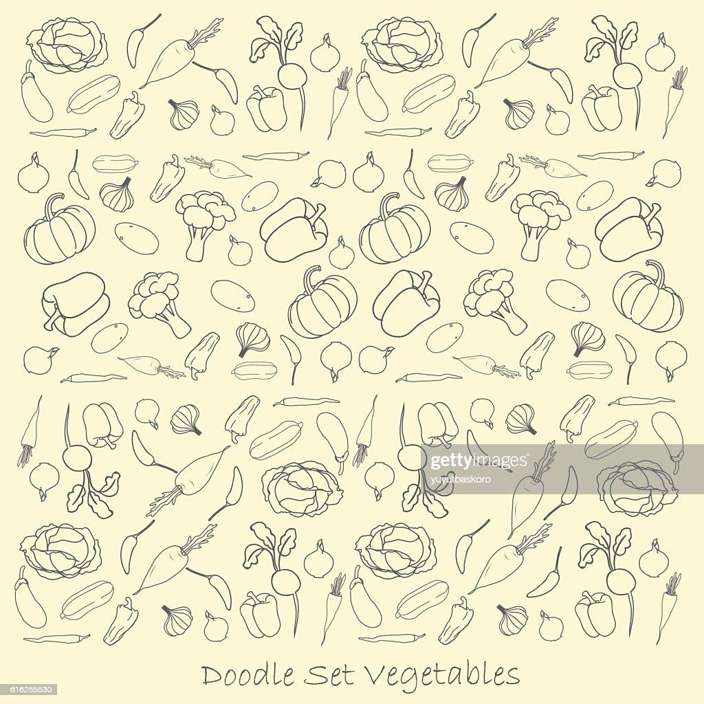 sets of doodles vegetables vector illustration. : Arte vetorial