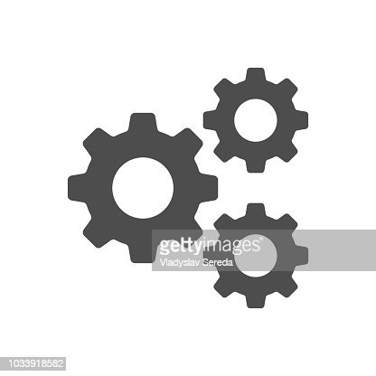 Setting, Gear, Tool, Cog Isolated Flat Web Mobile Icon Vector Sign Symbol Button Element Silhouette : stock vector