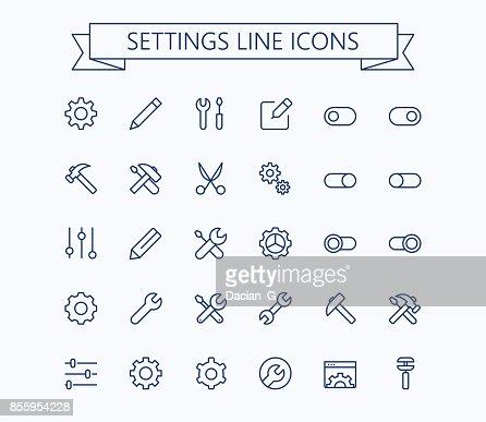 Setting  thin line mini icons set. 24x24 Grid. Pixel Perfect.Editable stroke. : stock vector