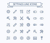 Setting  thin line mini icons set. 24x24 Grid. Pixel Perfect.Editable stroke. eps 10