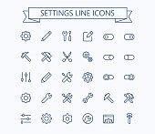 Setting  thin line mini icons set. 24x24 Grid. Pixel Perfect.Editable stroke. eps 10