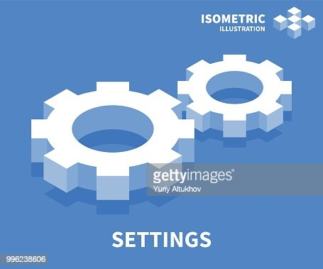 Settings icon. Isometric template for web design in flat 3D style. Vector illustration. : stock vector
