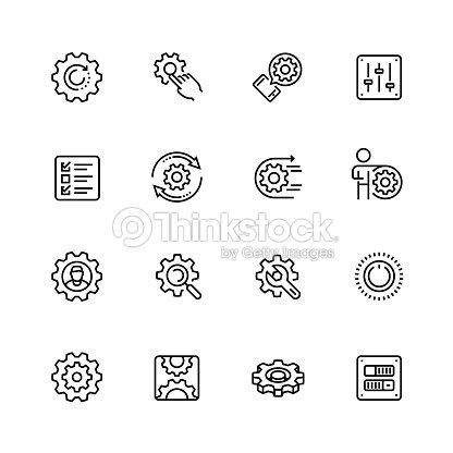 設定やオプション関連編集可能なストロークで細い線スタイルのベクトル アイコンを設定 : ベクトルアート
