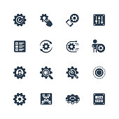 Settings or options related vector icon set