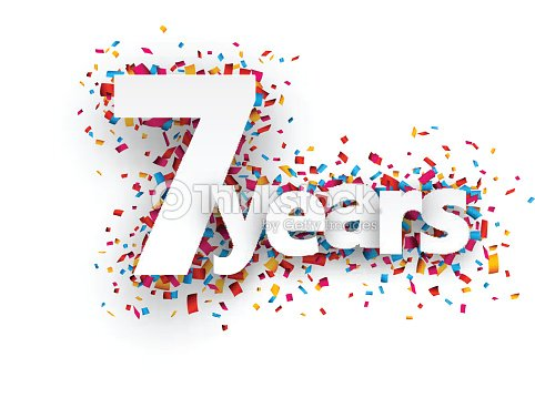 Seven Years Paper Confetti Sign Vector Art