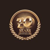 70 years anniversary vector icon. 70th celebration design. Golden jubilee symbol