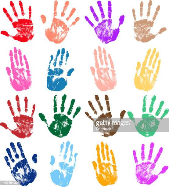 Several different colored handprints on a white background