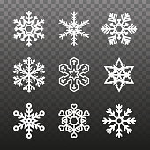 Several Different Types of Snowflakes. Snowflakes of Different Shapes on a Plaid Transparent Background. Vector Illustration.